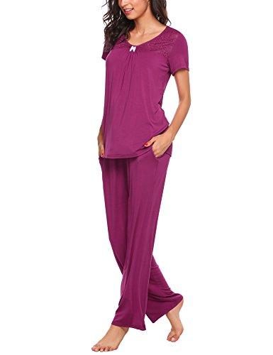 Unibelle Nachtwäsche für Damen aus Jersey mit V-Ausschnitt und Capri Pyjama PJ Set (Stück Pj Damen 2)