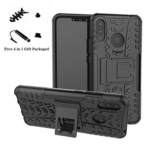 LiuShan Nova 3i / P Smart+ Plus Hülle, Dual Layer Hybrid Handyhülle Drop Resistance Handys Schutz Hülle mit Ständer für Huawei Nova 3i / P Smart+ Plus Smartphone (mit 4in1 Geschenk verpackt),Schwarz
