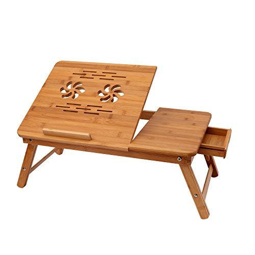 Athomestore tavolino da letto per pc notebook pieghevole portatile con piano inclinabile, computer portatile letto vassoio tavolo regolabile bambù pieghevole colazione servendo destra-sinistra mano letto scrivania w' inclinazione superiore cassetto