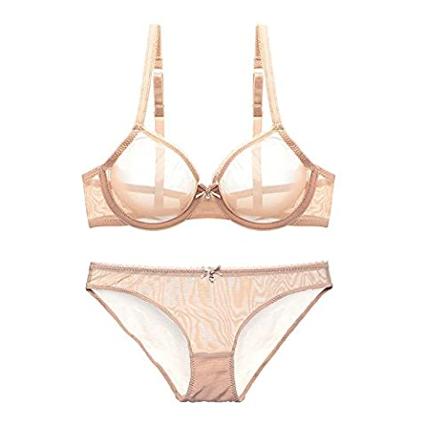 Varsbaby Women See-through Lace Push Up Transparent Everyday Bra Lingerie sets (V279TS-38D-Beige)
