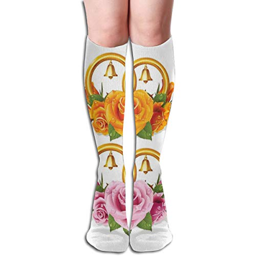 ocks Graduated Stockings For Men & Women,Bunch Of Roses And Rings With Bells Fresh Petals Green Leaves Waterdrips,Prevents Swelling,Travel,Everyday Use ()