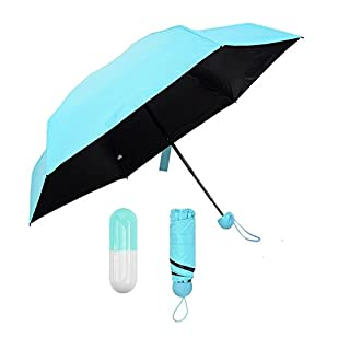 Aoxsen Windproof Waterproof Travel Pocket Umbrella Anti-UV Protective Summer Sun Protection Parasols Umbrellas Unisex Rain Umbrella Ultra Lightweight Mini Folding Umbrella with Capsule Case