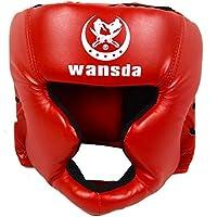 Casco protector de boxeo para entrenamiento de adultos, competición, tipo cerrado, artes marciales, equipo de fitness, taekwondo, práctica de piel sintética, karate, color negro, No nulo, rojo