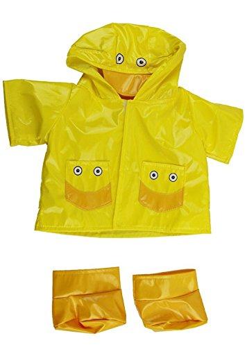 Preisvergleich Produktbild Gelbe Ente Regenmantel mit Stiefeln Teddy Outfit Kleidung für 40cm Teddybären und Build-a-Bear