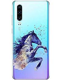 Oihxse Compatible con Huawei Honor 20S/PLAY3 Funda Suave Gel TPU Silicona Cristal Transparente Carcasa Acuarela Animal Pintado Patrón Protectora Estuche Bumper Caso Case (B6)