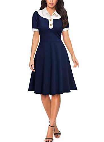 Miusol Damen Knielanges Kurzarm Vintage A-Linie Rockabilly Kleider Party Ballkleid Blau S