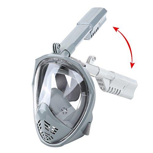 Kamera Deluxe-set (Tauchmaske Vollgesichtsmaske Easybreath schnorchelmaske vollmaske mit Anti-Fog und Anti-Leck Schnorcheln Maske 180 Grad Blickfeld Tauchermaske Diving Mask für Erwachsene und Kinder)