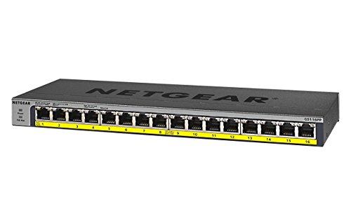NETGEAR GS116PP-100EUS 16-Port LAN Gigabit Ethernet Switch (PoE Plus 183 W, Unmanaged Plug-und-Play, Lüfterlos) schwarz