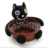 JOOFFF Candy Basket Halloween Puppe Obstteller Bambus + Plüsch Ecoration Candy Ablagekorb Black Cat Kürbis Zombie Ghost Plüsch Korb, Schwarze Katze hält Candy Blue