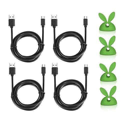 Micro USB Cable 4Pack (3m, 2m, 1.5m, 1.2m) PowerLine Langlebige und schnelle Ladekabel Cord für Android Smartphone, Sony, Tablet Verlängerungskabel Quick Charger Mit Niedlichen Schnur Drop Clips Kabel