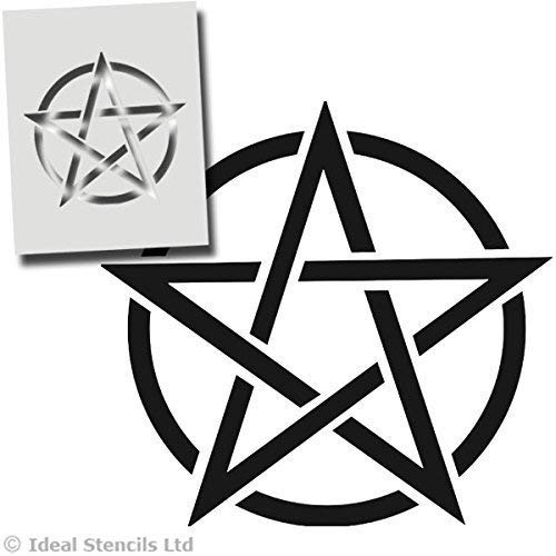 Pentagramm Stern, Pentagram, Hexerei Stern - Halloween Wanddekoration, Kunst Handwerk Malerei Druck - Farbe Wände Stoffe Möbel - Wiederverwendbar Waschbar - XL/ 54X54CM