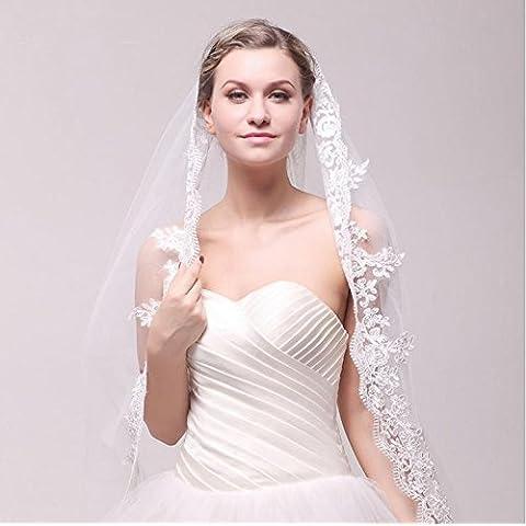 Accesorios de boda de lujo blanco de marfil noble del ajuste del cordón de la novia del velo de 5 metros de largo