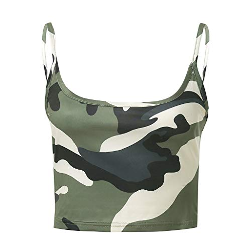 Lialbert Camouflage Top Damen Sexy Slim Fit Bedruckt T Shirts Elegant Spaghetti Top Kurze ÄRmelloses Oberteile
