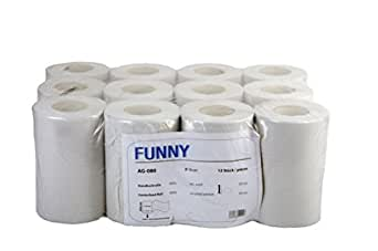 Funny Lot de 12rouleaux de papier essuie-mains simple épaisseur Papier blanc recyclé 20cm