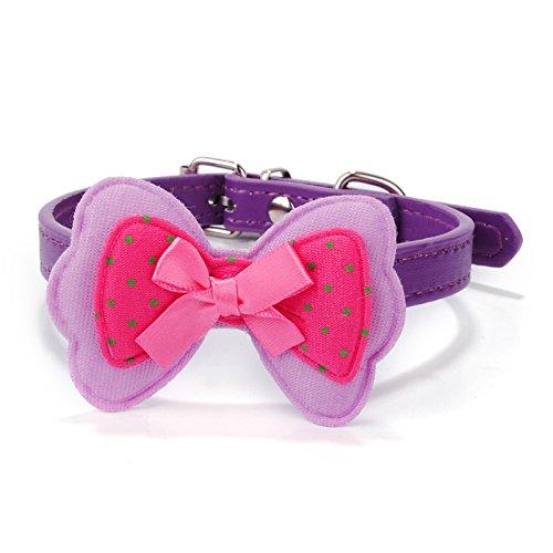 nder Für Kleine Hunde Polka Dot Bowknot Pu Leder Halsband Hund Haustier Zubehör Halsbänder Halskette Xs-M, Lila, S ()