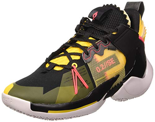 Nike jordan why not zer0.2 se, scarpe da basket uomo, black/flash crimson/amarillo/vapste grey, 42.5 eu