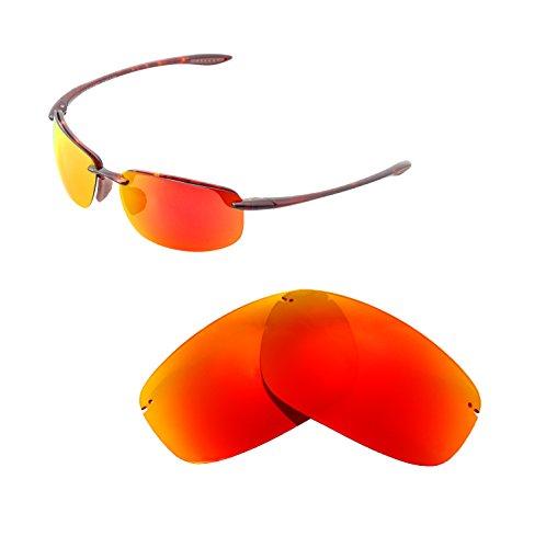 Walleva Ersatzgläser für Maui Jim Ho'okipa Sonnenbrille - Mehrfache Optionen (Feuer Red Mirror Coated - Polarisiert)