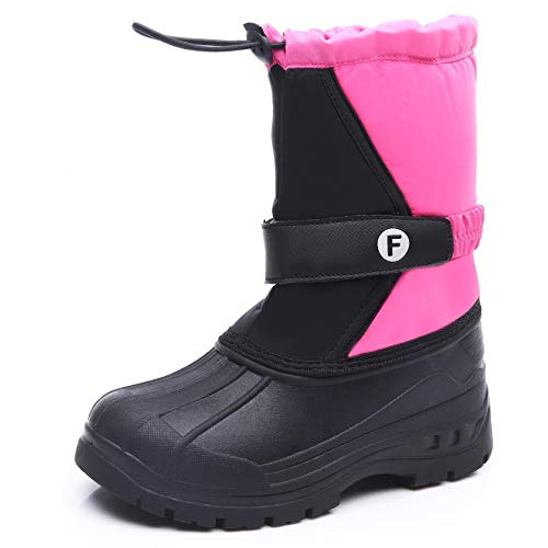HMIYA Kinder Winterstiefel Jungen Mädchen Schneestiefel Warm Gefütterte Winterschuhe Snowboots Wasserdicht Stiefel Winter Outdoor(Rosa,38)