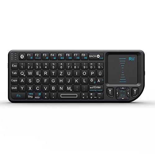 Rii RT-MWK02 Bluetooth Mini PC Tastatur (QWERTZ) mit Touchpad Deutsch schwarz