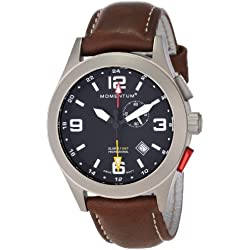 Momentum Vortech GMT Men's Quartz Watch with Black Dial Analogue Display and Brown Leather Strap 1M-SP58B2C