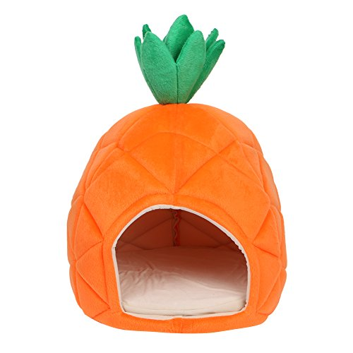 Qiuxiaoaa Haustierhaus Halb geschlossener Luxus Deluxe Ananas Haustier Haus Hund Katze Welpen Warmes Höhlennest Gemütliches Schlafbett -
