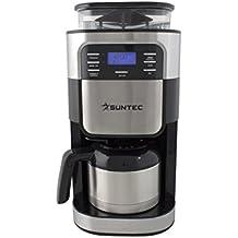 SUNTEC Mahlwerk-Filter-Kaffeemaschine KAM-8274 design [Für Bohnen + Pulver, Mahlgrad + Kaffeestärke einstellbar, Timer-Programmierung, Edelstahl-Thermoskanne (1 l), max. 900 Watt]