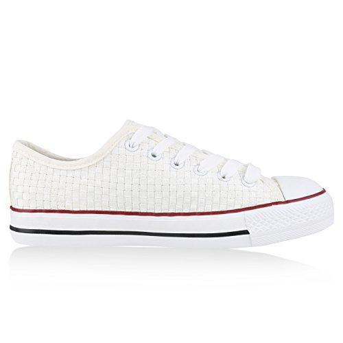 Sneakers best-boots da donna scarpe da ginnastica atletica scarpe Cords Slipper Weiss Bianco Nuovo