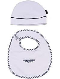 ASTON MARTIN 1258W Set Bimbo White/Blue Cotton Set Pack Hat Bib Kid