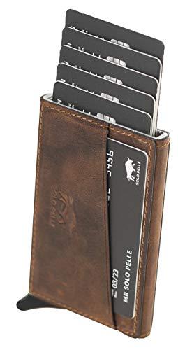 Solo Pelle Kartenetui mit RFID Schutz bis 11 Karten Portmonee Geldbeutel Kreditkartenetui für den Alltag Mech Echtes Leder in Vintage Braun