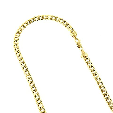 14k Yellow Gold Hollow Miami Cuban Link Chain Necklace with Lobster Claw Clasp 6.5mm Wide 22