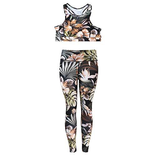 Damen 2 Stück Sportanzug Outfit Set Tropical Tank Top und Lange Hosen Set Sexy Yoga Zweiteiler Casual Navel Ausgesetzt Laufen Set für Frauen Tropical Crop Hose