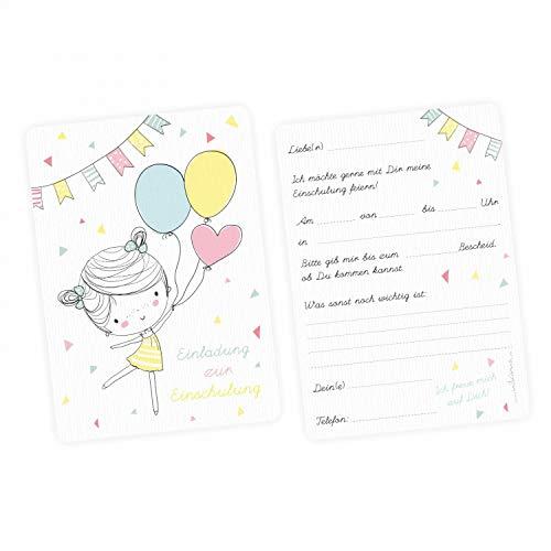 nikima Schönes für Kinder 5 Einladungskarten zur Einschulung Mädchen mit Luftballons mit Glitzer inkl. 5 Transparenten Briefumschlägen Einladung Schuleintritt Pastel Gelb Rosa Blau Punkte