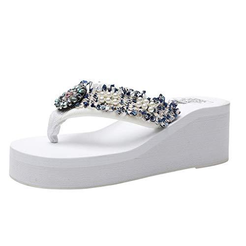Deloito Damen Blumen Pantoletten Wedges Sandalen Bohemien Stil Flip Flops Mädchen Einfarbig Strasssteine Perle Hausschuhe Strandschuhe (Weiß,40 EU)