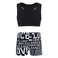 Freebily 2 Pcs Junior Girls Sleeveless Sports Bra Crop Top with Shorts Set for Gymnastics Leotard Dancing or Swimming Black 10-12 Years