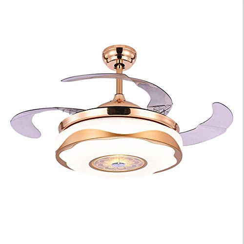 Modern Ceiling Fan Light 42 ' ' Remote Controlled Dimmable LED Light Ceiling Fan mit unsichtbaren Retractable Blade 3 Speed Control-Gold