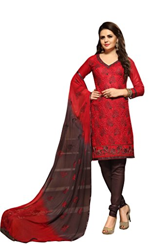Oomph! Women's Unstitched Salwar Suit/Dress Material/Embroidered Cotton Dress Material, Red