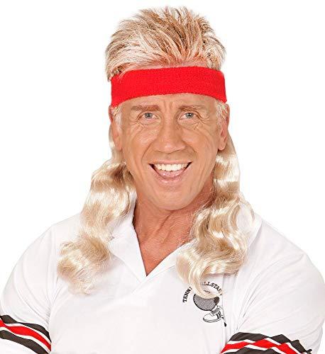 shoperama Bad Taste Stirnband mit Haaren Vokuhila Assi Perücke Asi Matte Proll Trash Party, Farbe:Blond