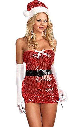 Sexy Pailletten Miss Santa Kostüm - Damen Sexy Miss Santa Weihnachten Pailletten Kostüm Outfit