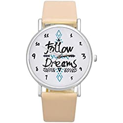 KEERADS Women PU Leather Watch Follow Dreams Words Pattern Leather Watch Beige