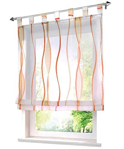 Bailey jo - tenda a pacchetto trasparente in voile con fantasia a onde., tessuto, orange, bxh 80x140cm