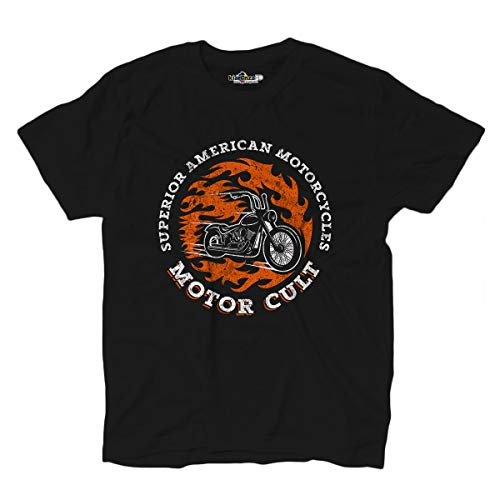 KiarenzaFD T-Shirt Moto Cult Superior Fire Custom Rider Choppers Motocycles, KTSA02427-XXL-black, schwarz, XXL