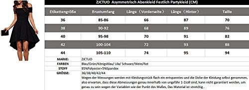 ZJCTUO Damen Kleid Abendkleid Schulterfreies Cocktailkleid Jerseykleid Skaterkleid Knielang Elegant Festlich Asymmetrisches Partykleid- Gr. 42 (XL), Schwarz - 5