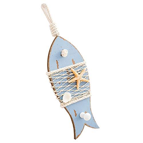 KESOTO Nautische Fische Holzhaken Kleiderhaken Garderobenhaken Wandhaken für Wohnzimmer - Hellblau (Kleiderhaken Fisch)
