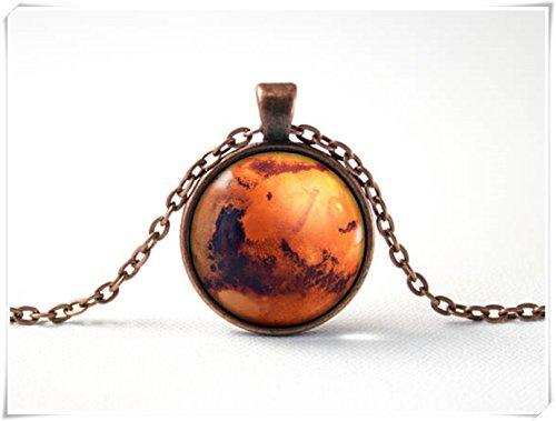 JUN Mars Halskette, Platz Halskette, Planet Mars Schmuck, Mars Anhänger, Dome Glas Schmuck, Pure Handgefertigt