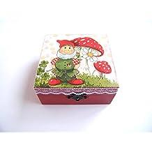 KristanArt Cajita de madera Joyero Caja de almacenamiento para niña Hucha infantil Guarda dientes de leche
