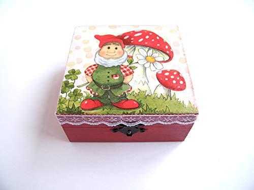 KristanArt Cajita madera Joyero Caja almacenamiento