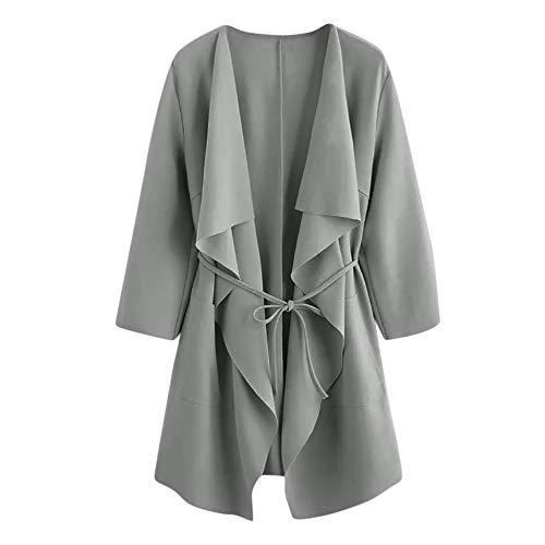 TOPKEAL Jacke Mantel Damen Herbst Winter Sweatshirt Wasserfall Kragentasche Steppjacke Front Wrap Kapuzenjacke Hoodie Pullover Outwear Coats Tops Mode 2019 -