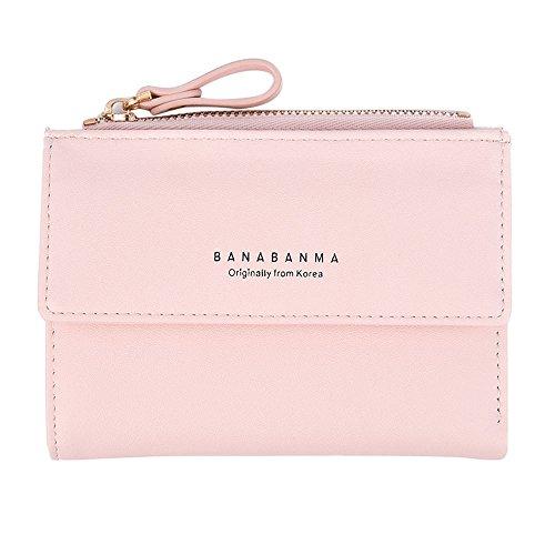 Portemonnaie Piebo Mini Börse Täschchen mit Reißverschluss Damen Kleine Geldbeutel PU Leder Brieftasche für Frauen Mädchen (Rosa)
