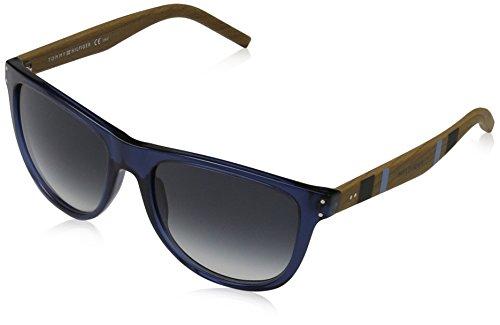 Tommy hilfiger unisex - adulto th 1112/s ua 4l6 55 occhiali da sole, blu (bluette light wood/grey shaded)
