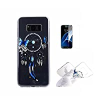 For Galaxy S8 Case [With Tempered Glass Screen Protector],Fatcatparadise(TM) Anti Scratch Transparent Soft Silicone Cover Case ,Colorful Cute Pattern Ultra Slim Flexible Non-Slip Design TPU Protective [Crystal Clear] Shell Bumper Case Prefect Fit For Sams